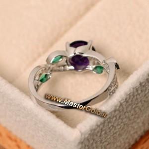 انگشتر جواهر آمتیست و زمرد