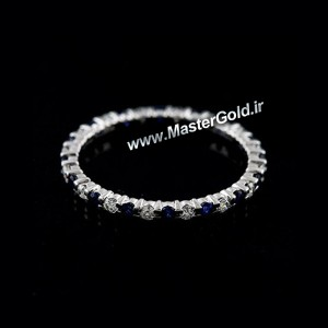 حلقه الماس و یاقوت کبود