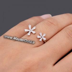انگشتر جواهر طرح گل