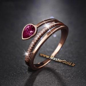 انگشتر سنگ رنگی و الماس