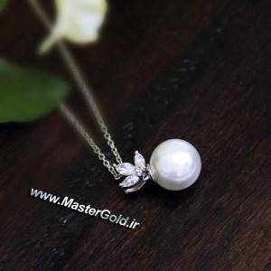 گردن آویز جواهر مروارید و الماس