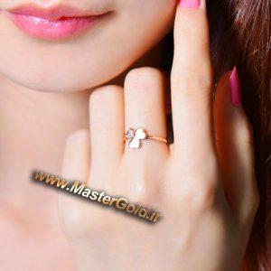 انگشتر جواهر شبدر سه پر