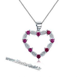 گردن آویز قلب یاقوت و الماس