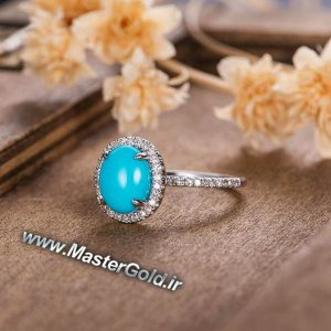 انگشتر جواهر فیروزه نیشابوری و الماس