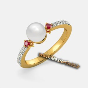 انگشتر جواهر مروارید , یاقوت و الماس