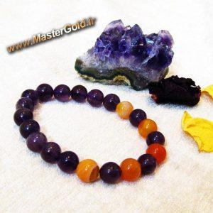 دستبند سنگ طبیعی آمتیست و آونتورین پرتقالی