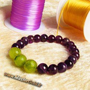 دستبند سنگ طبیعی آمتیست و جید سبز