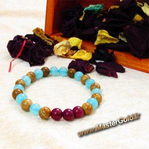 دستبند سنگ طبیعی جید قرمز , جاسپر قهوه ای و کوارتز آبی