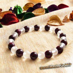 دستبند سنگ طبیعی یاقوت سرخ سیلان (گارنت) و اونیکس بی رنگ مات