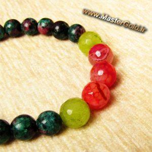 دستبند سنگ طبیعی روبی زوئیسیت , جید قرمز و جید سبز