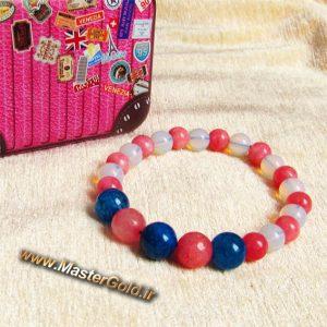 دستبند سنگ طبیعی کوارتز صورتی , عقیق دراگون آبی و اوپال بی رنگ