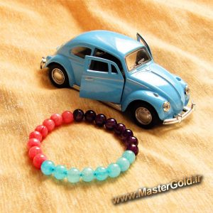 دستبند سنگ طبیعی آمتیست , کوارتز آبی و کوارتز صورتی