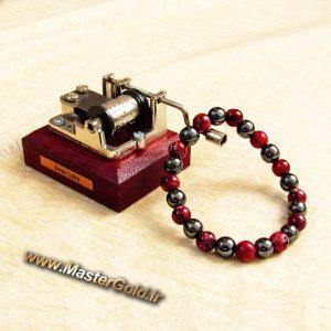 دستبند سنگ طبیعی رودونیت و حدید