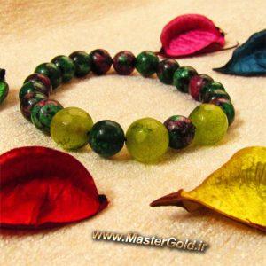 دستبند سنگ طبیعی جید سبز و روبی زوئیسیت