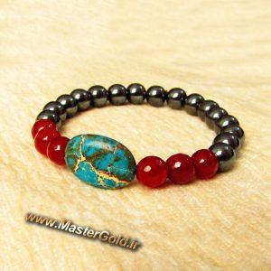 دستبند سنگ طبیعی فیروزه افریقایی , عقیق قرمز تراش و حدید نوک مدادی