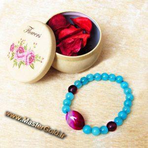 دستبند سنگ طبیعی عقیق سرخابی , کوارتز آبی و آمتیست