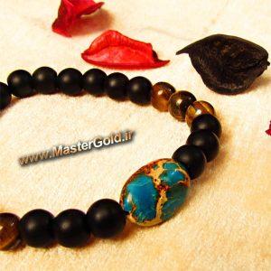 دستبند سنگ طبیعی فیروزه افریقایی , انیکس سیاه مات و چشم ببر