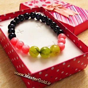 دستبند سنگ طبیعی جید سبز , کوارتز صورتی و دلربای سورمه ای