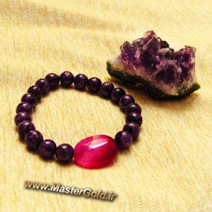 دستبند سنگ طبیعی عقیق سرخابی و جاسپر بنفش