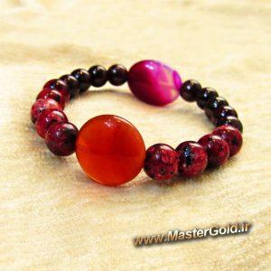 دستبند سنگ طبیعی عقیق قرمز و عقیق سرخابی , گارنت و رودونیت