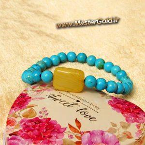 دستبند سنگ طبیعی فیروزه افریقایی و عقیق زرد