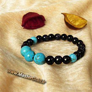دستبند سنگ طبیعی فیروزه افریقایی و دلربای سورمه ای