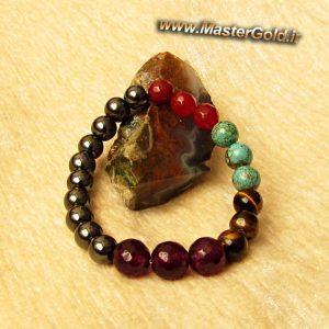 دستبند سنگ طبیعی آمتیست , چشم ببر , حدید , فیروزه افریقایی , عقیق