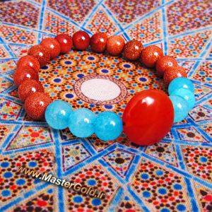 دستبند سنگ طبیعی عقیق , کوارتز آبی و دلربای قهوه ای (مصنوعی)