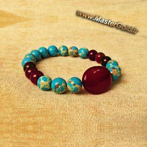 دستبند سنگ طبییعی عقیق سرخ , فیروزه افریقایی و جید سرخ