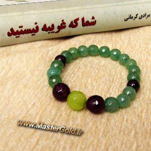 دستبند سنگ طبییعی آمتیست , گارنت و جید سبز روشن و تیره
