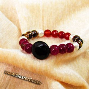 دستبند سنگ طبیعی عقیق سیاه و قرمز , جید زرشکی , مروارید و چشم ببر