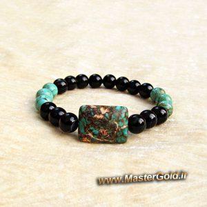 دستبند سنگ طبیعی فیروزه افریقایی و اونیکس سیاه براق