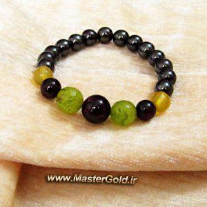 دستبند سنگ طبیعی گارنت سرخ و جید سبز و عقیق زرد و حدید نوک مدادی