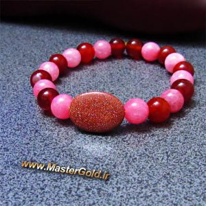 دستبند سنگ طبیعی عقیق قرمز , کوارتز صورتی و دلربای قهوه ای (صنعتی)