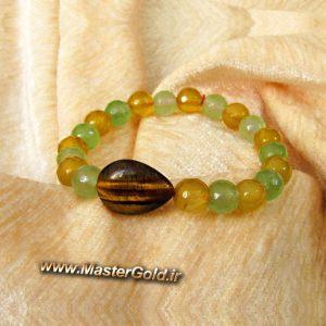 دستبند سنگ طبیعی چشم ببر , عقیق زرد و جید سبز