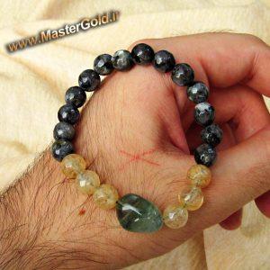 دستبند سنگ طبیعی فلوریت , سیترین و لارویکیت