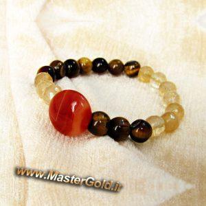 دستبند سنگ طبیعی عقیق , سیترین و چشم ببر
