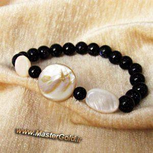 دستبند سنگ طبیعی صدف و دلربای سرمه ای (صنعتی)