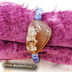 دستبند سنگ طبیعی عقیق شجر دریایی و سودالیت