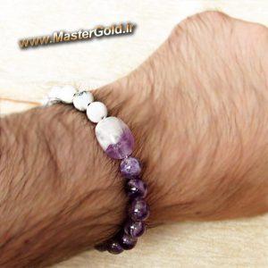 دستبند سنگ طبیعی آمتیست و هولیت