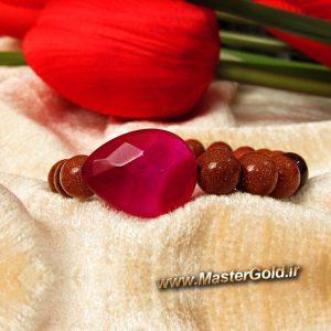 دستبند سنگ طبیعی عقیق ارغوانی و یاقوت گارنت و دلربا