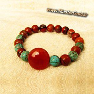 دستبند سنگ طبیعی عقیق , جاسپر قرمز و فیروزه افریقایی