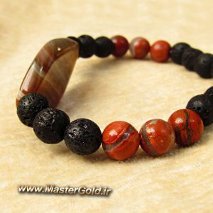 دستبند سنگ طبیعی عقیق , لاوا و جاسپر قرمز