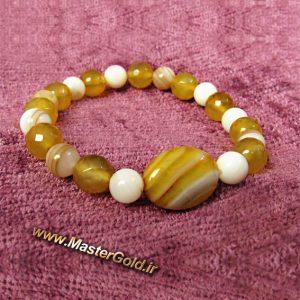 دستبند سنگ طبیعی عقیق زرد و صدف