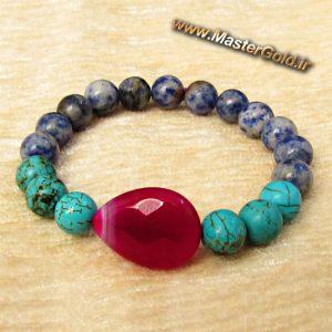دستبند سنگ طبیعی عقیق ارغوانی و فیروزه افریقایی و سودالیت