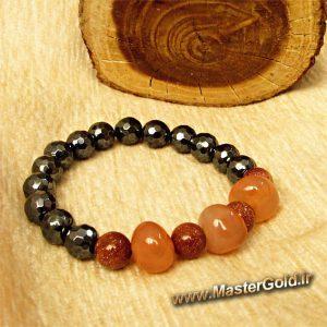 دستبند سنگ طبیعی عقیق و دلربا و حدید
