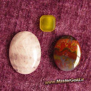 مجموعه سه عددی سنگ های اصل و طبیعی رز کوارتز و عقیق شجر پاییزی و عقیق زرد با دعای شرف الشمس