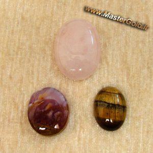 مجموعه سه عددی سنگ های اصل و طبیعی رز کوارتز و عقیق شجر پاییزی و چشم ببر