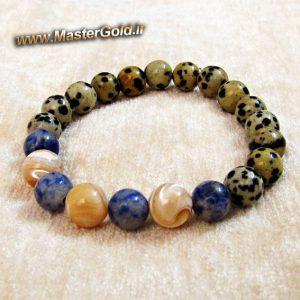دستبند سنگ طبیعی دالماتیان و سودالیت و صدف