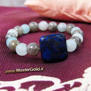 دستبند سنگ طبیعی لاجورد بهمراه مهره های لابرادوریت و عقیق مات آبی